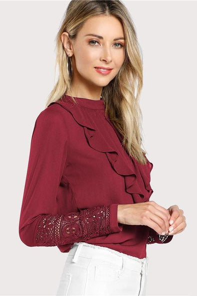Burgundy Elegant Ruffle Pleated Contrast Lace Blouse | TeresaClare