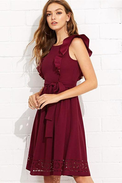 Burgundy Elegant Ruffle Shoulder Flounce Trim Fashion Dress | TeresaClare