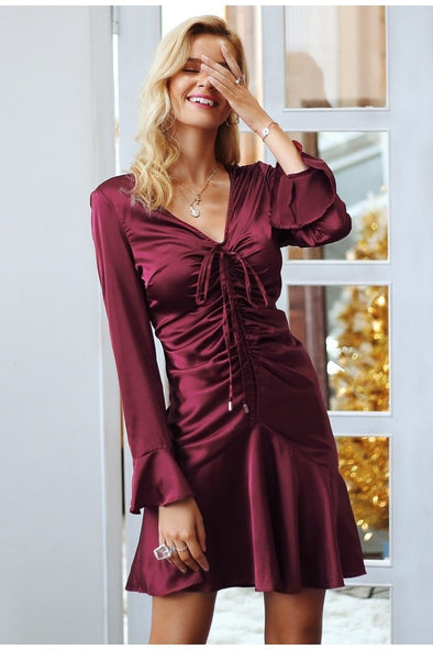 Burgundy Elegant Satin Butterfly Sleeve Sexy Party Dress | TeresaClare