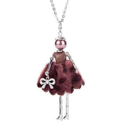 Burgundy Fashion Bow Doll Necklace Spring Charms Doll Key Necklace | TeresaClare