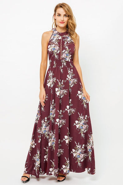 Burgundy Halter Backless Summer Long Hollow Out Dress | TeresaClare