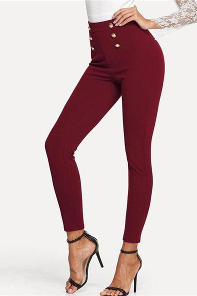 Burgundy Highstreet Button Embellished Skinny Mid Waist Pants | TeresaClare