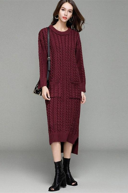 Burgundy Irregularity Knitted Sweater Dress With Pocket | TeresaClare