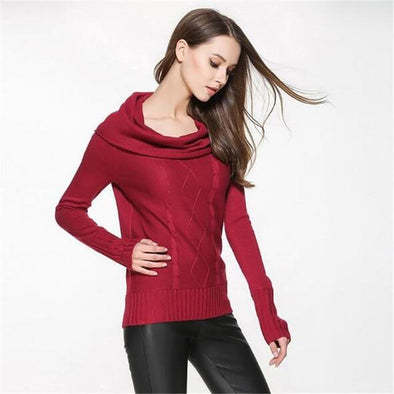 Burgundy Knitted Pullovers For Women Slash Neck Candy Colors Sweater | TeresaClare