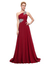 Burgundy One Shoulder Floor Length Chiffon Prom Dress With Beading | TeresaClare