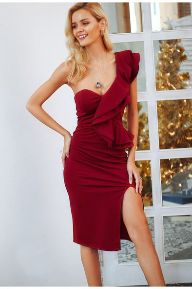 Burgundy One Shoulder Ruffles Split High Waist Bodycon Party Dress | TeresaClare