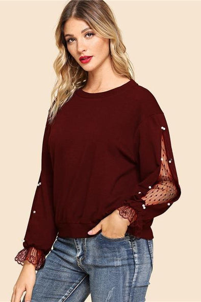 Burgundy Pearls Beaded Lace Contrast Pullover Sweatshirt | TeresaClare