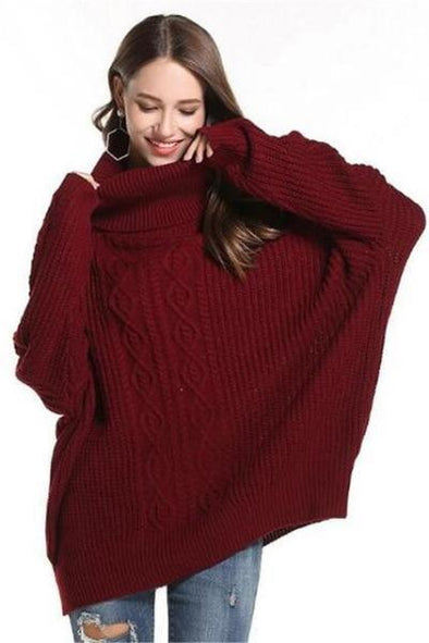 Burgundy Pullovers For Women Loose Knitted Pullovers Sweater | TeresaClare