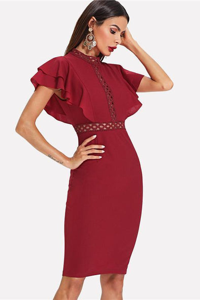 Burgundy Red High Waist Vintage Ruffle Sleeve Fashion Dress | TeresaClare