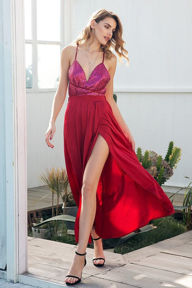 Burgundy Sequin Strap Long Sexy Backless Lace Up Party Dress | TeresaClare