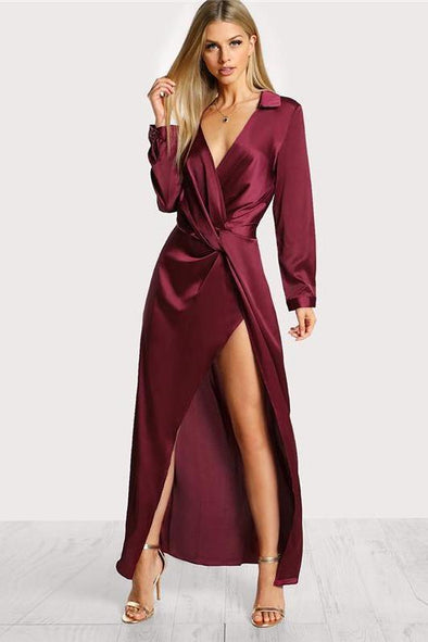 Burgundy Sexy Party Satin Front Twist Wrap Fashion Dress | TeresaClare