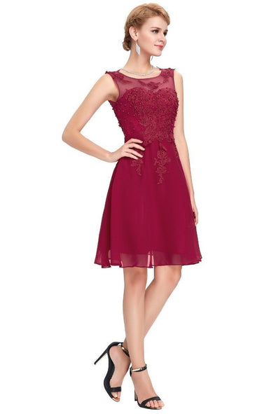 Burgundy Short Party Cocktail Dress With Beading And Appliques | TeresaClare