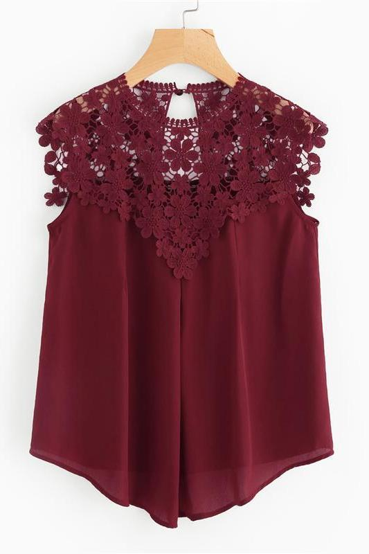 Burgundy Sleeveless Round Neck Sexy Blouse | TeresaClare