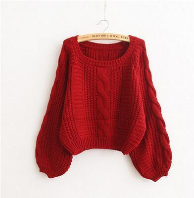 Burgundy Solid Short Style Knitted Pullovers Flare Sleeve Knitwear Sweater | TeresaClare