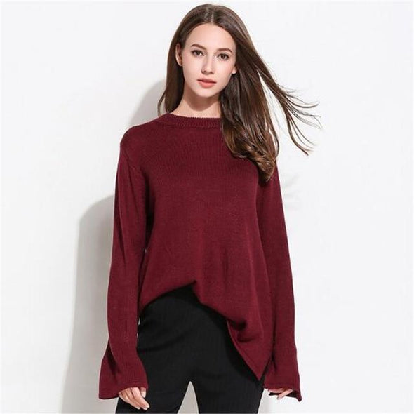 Burgundy Split Sleeve Knitted Pullover Sexy O-Neck Sweater | TeresaClare