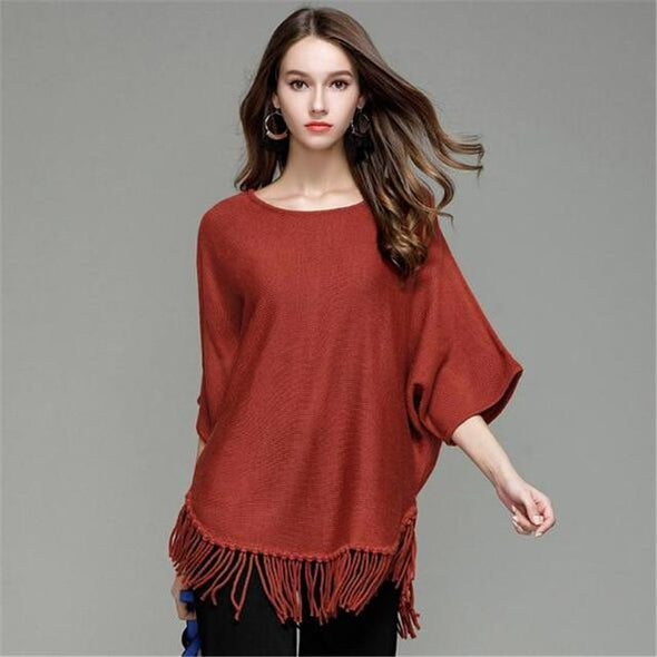 Burgundy Tassel Fashion Knitted Pullovers Female Sexy Sweater | TeresaClare