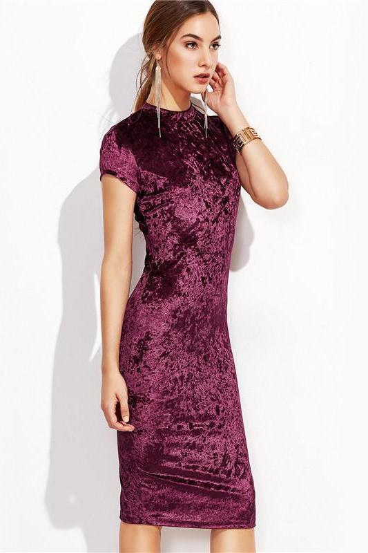 Burgundy Velvet Bodycon Midi Dress Autumn Fashion Dress | TeresaClare