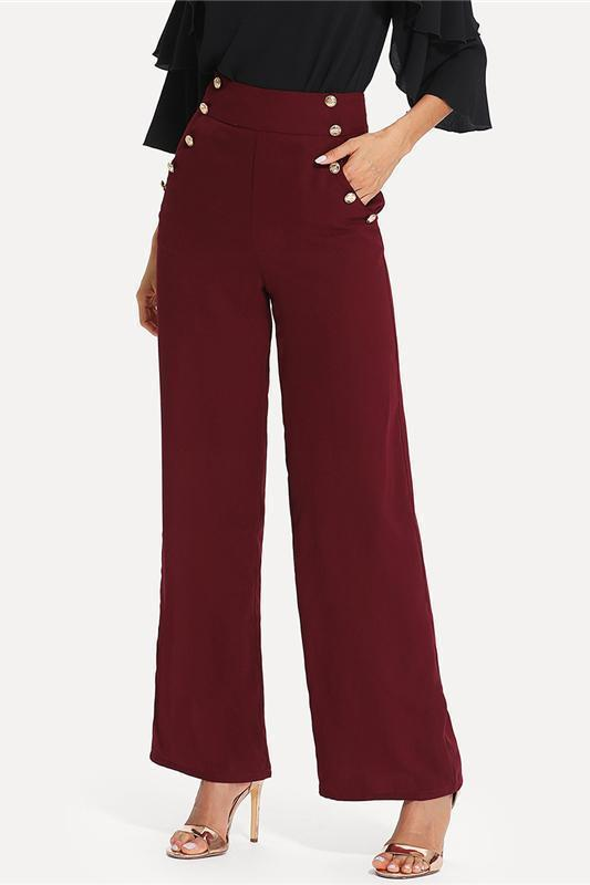 Burgundy Workwear Double Gold Button Detail Wide Leg Pants | TeresaClare
