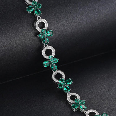 Butterfly Shaped Emerald S925 Sterling Silver Bracelet | TeresaClare