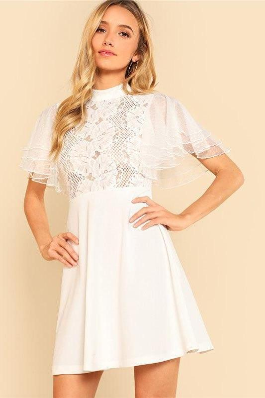 Butterfly Sleeve Lace Bodice Stand Collar Fashion Dress | TeresaClare
