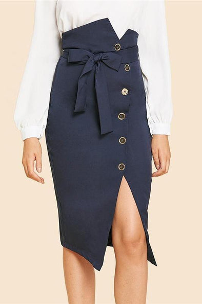 Button Up Slit Hem Mid Waist Belted Solid Sheath Skirt | TeresaClare