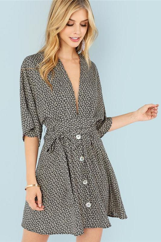 Calico Print Button Up Plunging Neck Holiday Fashion Dress | TeresaClare