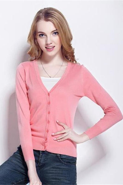 Candy Colors Sweaters Single Breasted Deep V-neck Cardigan Sweater | TeresaClare