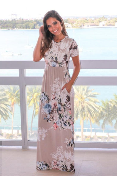 Casual Beach Style Fashion Dress With O-Neck And Floral Print | TeresaClare