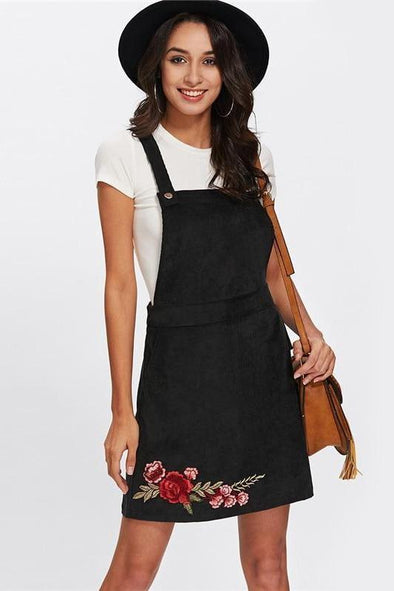 Casual Black Sleeveless Rose Embroidery Fashion Dress | TeresaClare