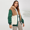 Casual Contrast Faux Fur Zipper Up Outerwear Jacket | TeresaClare