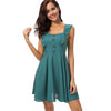 Casual Cotton Linen Mini A-Line Fashion Dress With Straps | TeresaClare