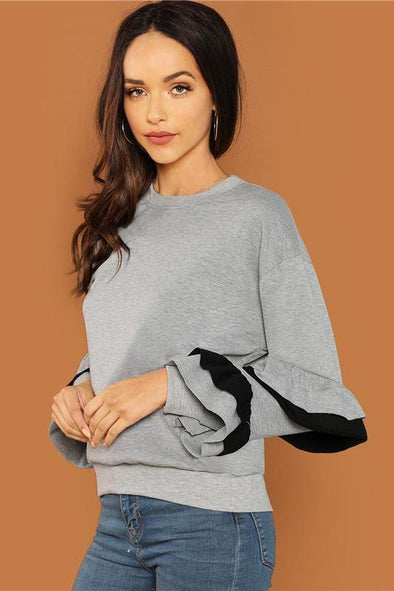 Casual Gray Round Neck Tiered Layered Ruffle Tunic Sweater | TeresaClare