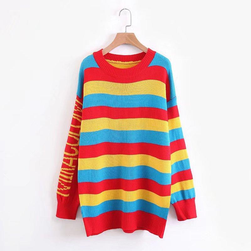 1f3420f9993e9 Shop Casual Pullover Colorful Striped Rainbow Sweater Dress Now ...