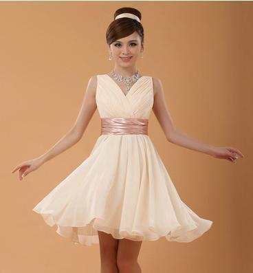 Champagne A-Line V-Neck Homecoming Dress With Ruffles And Cap Straps | TeresaClare