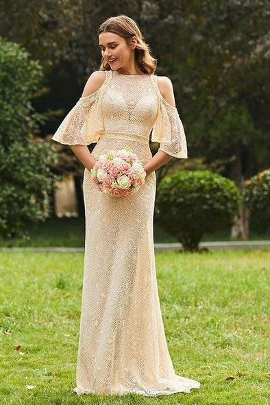 Champagne Lace Half Sleeves Floor-Length A-Line Evening Dress | TeresaClare