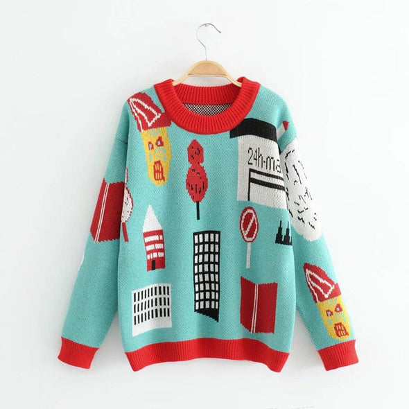 Character Pullover Casual Colorful Hit Knitted Sweater | TeresaClare