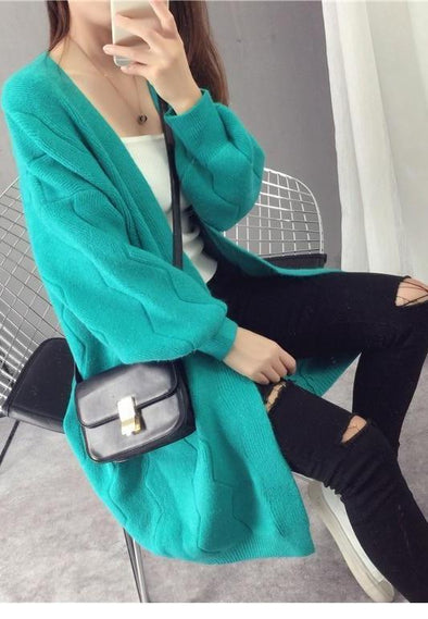 Chic Long Solid Artificial Wool Cardigans Lantern Sleeve Sweater | TeresaClare