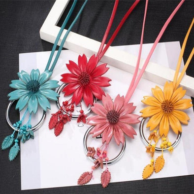 Choker Bright Big Flower Necklace & Pendants Leather Flower | TeresaClare