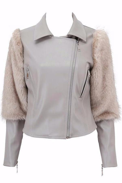 Coats Gray Long Sleeve Zipper Celebrity Lady Faux Fur basic Coat | TeresaClare
