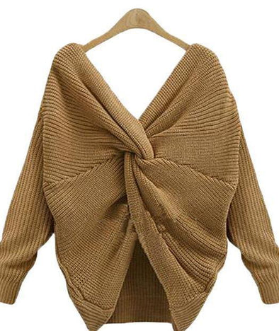 Coffee Deep V-Neck Tie Up Backless Sexy Sweater For Women | TeresaClare