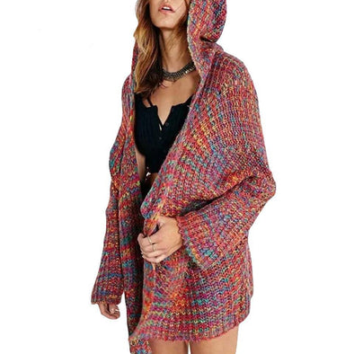 Colorful Line Mix Warm Loose Women's Hooded Sweater | TeresaClare