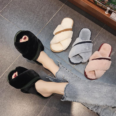Comfort Warmth Flat Bottom Toe Crossed Fluffy Slippers | TeresaClare