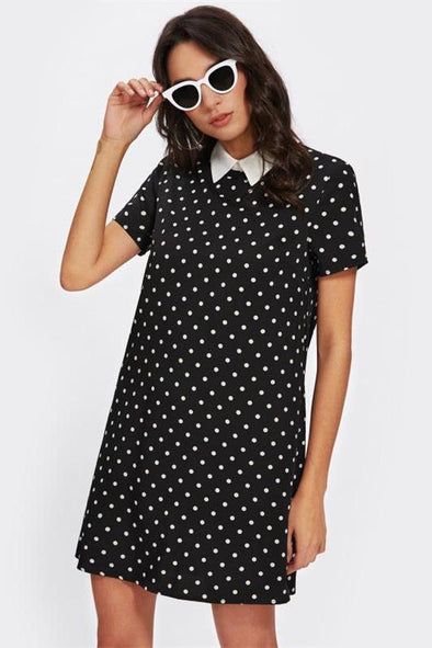Contrast Collar Polka Dot Straight Black and White Fashion Dress | TeresaClare