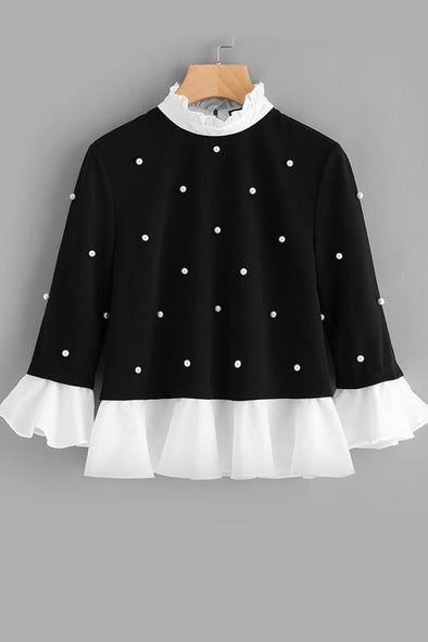 Contrast Frill Trim Pearl Embellished Top Black Blouse | TeresaClare
