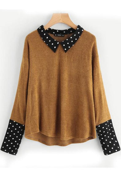 Contrast Polka Dot Collar and Cuff Tee Brown Blouse | TeresaClare