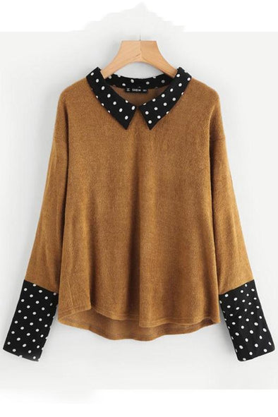 Contrast Polka Dot Collar and Cuff Tee Brown T-Shirt | TeresaClare