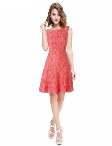 Coral A-Line Scoop Neck Cocktail Dress With Flowers And Short Sleeves | TeresaClare