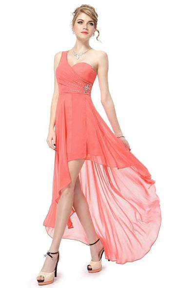 Coral One Shoulder Asymmetrical Chiffon Prom Dress With Crystals | TeresaClare