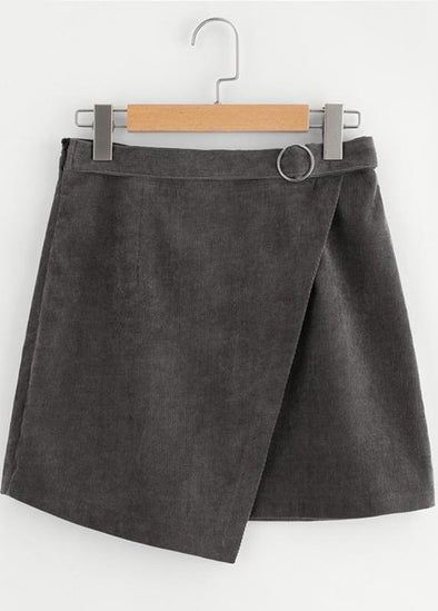 Corduroy Wrap A Line O-Ring Belt Gray Cute Mini Skirt | TeresaClare