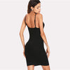 Cowl Neck Black Fashion Dress With Spaghetti Strap | TeresaClare